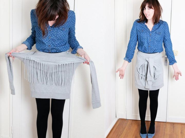DIY : une jupe nouée avec un sweatbasique