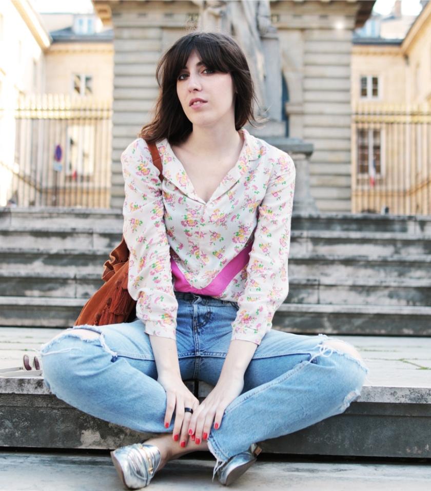 Couture mode la chemise george version fleurs et bandes graphiques - Porte chemise dressing ...