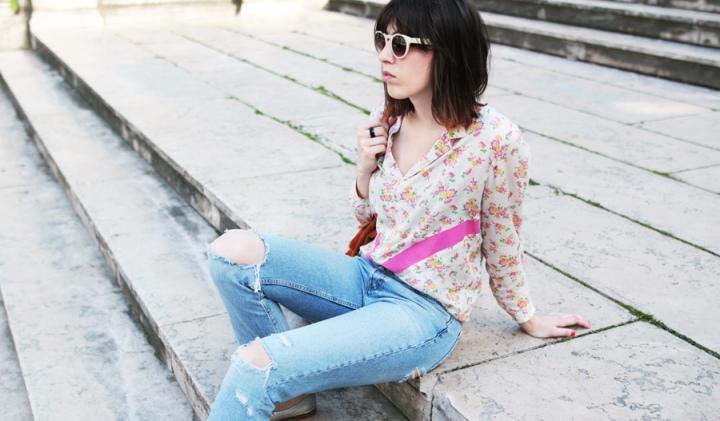 Couture mode, la chemise George version fleurs et bandesgraphiques