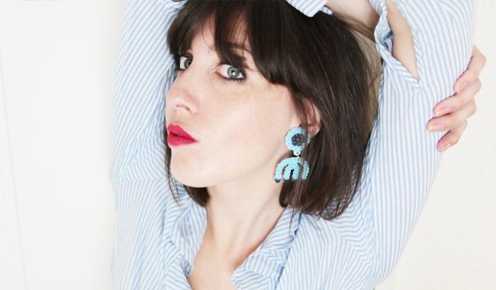 DIY : Des boucles d'oreilles mode en perles Hama bleus#tuto1