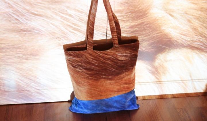 DIY mode : un sac en velours côtelé color block!