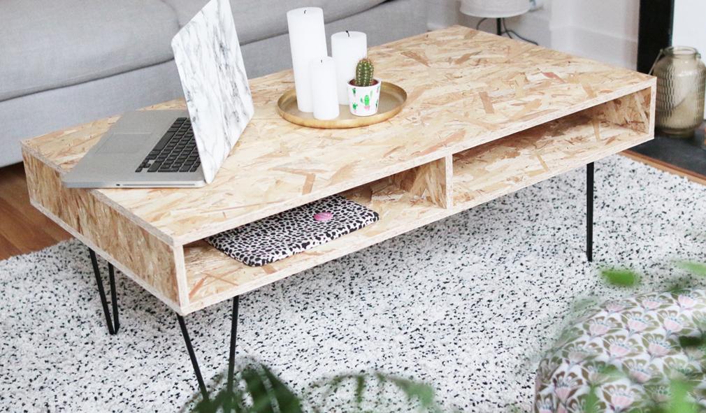 diy d co r aliser une table basse design en bois osb. Black Bedroom Furniture Sets. Home Design Ideas