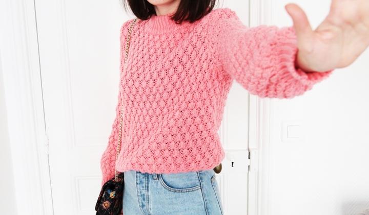 Un pull rose pour un lookpop