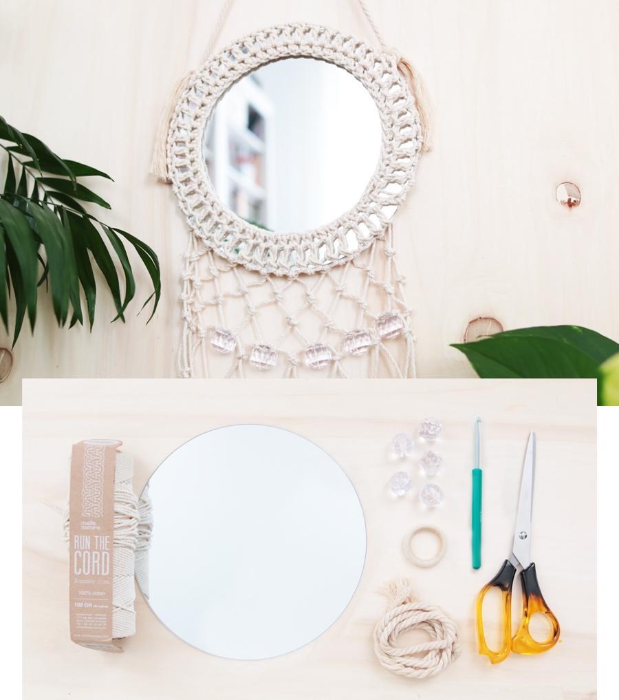 diy déco : habiller un miroir rond en macramé